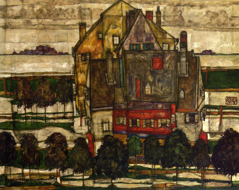 席勒/他的风景画,笔下的房屋总是拥挤不堪,像征着画家头脑里...